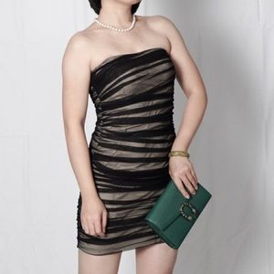 A/X ARMANI EXCHANGE Ruched Mesh Strapless Dress